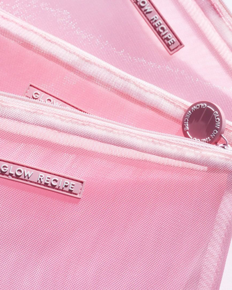 close shot of pink mesh zips