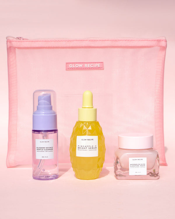 glow recipe products in front of pink mesh zip on pink backdrop