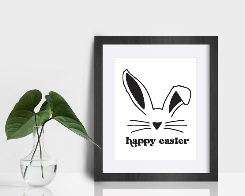Screen Printed Easter Sign - Happy Easter Bunny