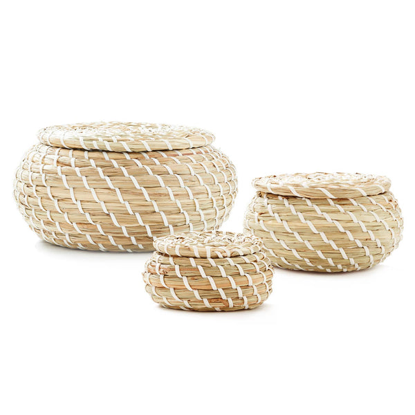 Set of 3 - Seagrass Round Basket With Lids
