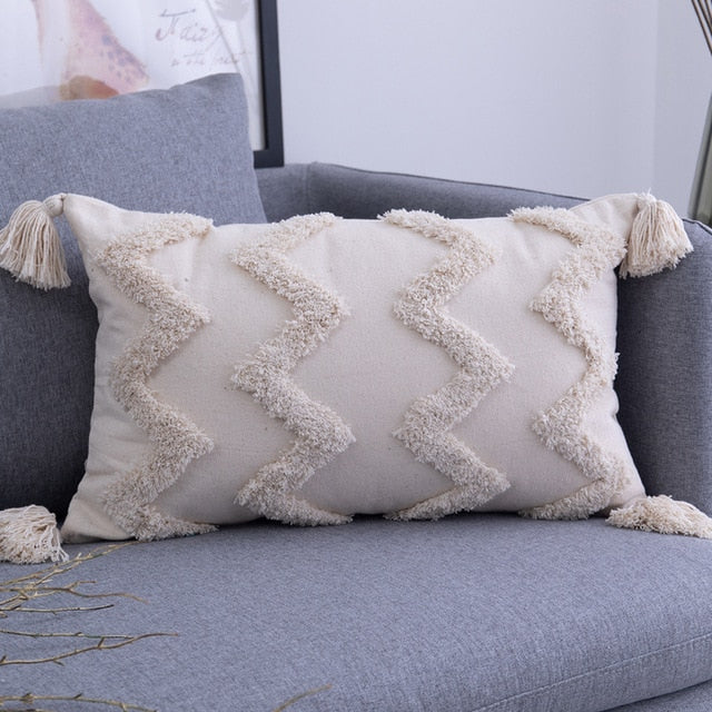 Tassels Cushion Cover 18x18in/12x14in Beige Pillow Cover  Handmade Square Home Decoration for living Room Bed Room Zip Open