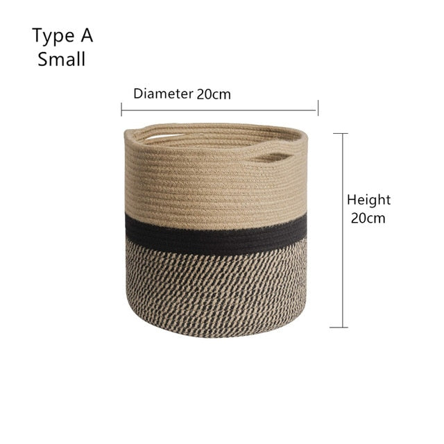 Cutelife Cotton Woven Rattan Storage Basket Plant Flower Laundry Bag Basket Kitchen Clothes Toy Organizer Basket Decoration Home