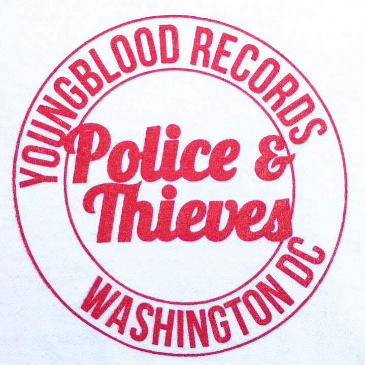 Police & Thieves T-Shirt White with Red Ink