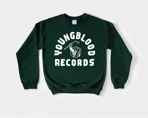 Youngblood Records Forest Green Crewneck