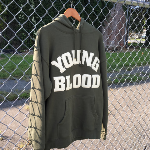 Younglood Felt Lettering Hood Army Green w/ Antique White Lettering