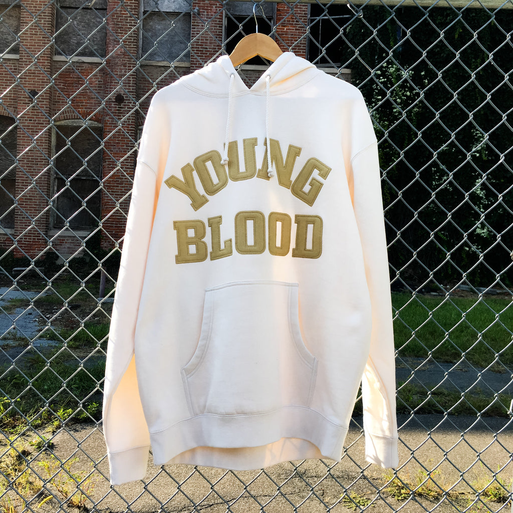 Youngblood Bone Hoodie w/ Old Gold Felt Lettering