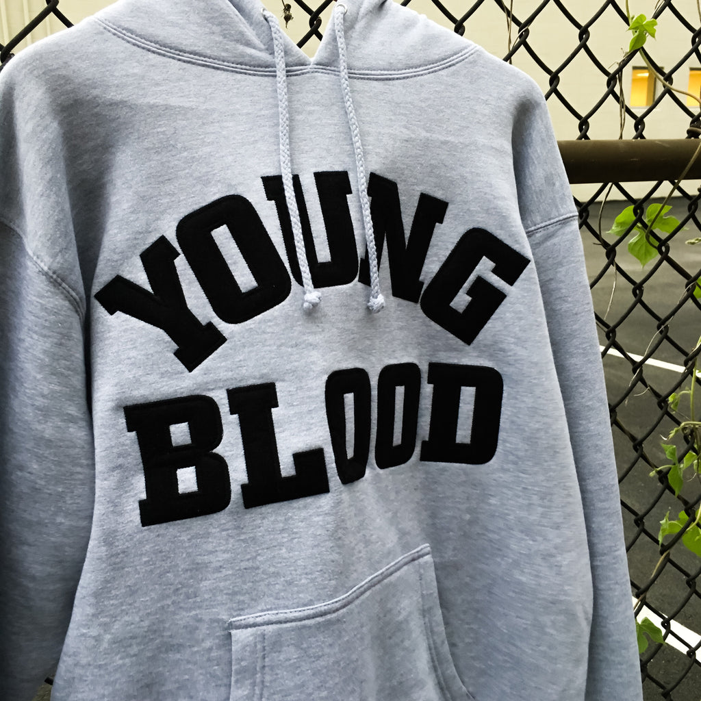 Youngblood Felt Lettering Hooded Sweatshirt Grey with Black Lettering (1 Left!)