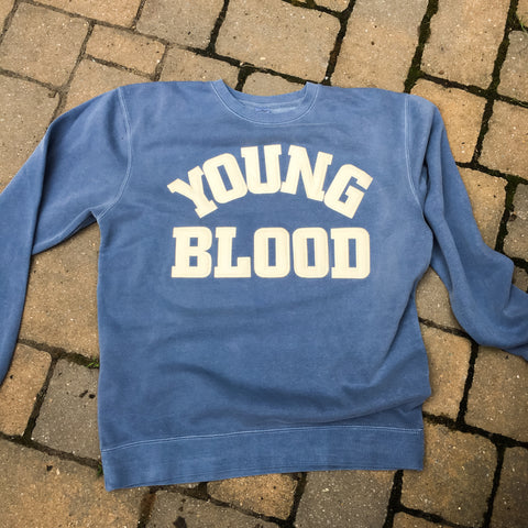 Youngblood Felt Lettering Crewneck Sweatshirt Pigment Washed Blue