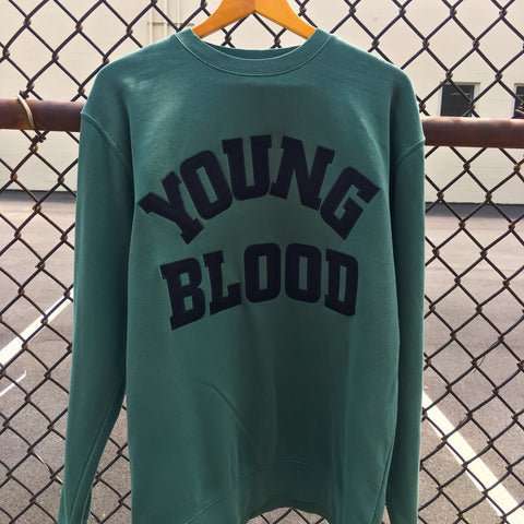 Youngblood Felt Lettering Crewneck Sweatshirt Mint Green with Black Lettering