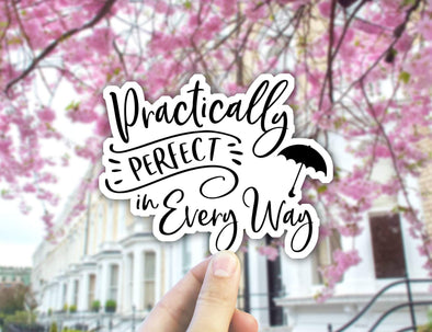 Sticker, Mary Poppins, Practically Perfect in Every Way, Mary Poppins Returns,  Gifts, Laptop Stickers, Vinyl Decal, Epcot