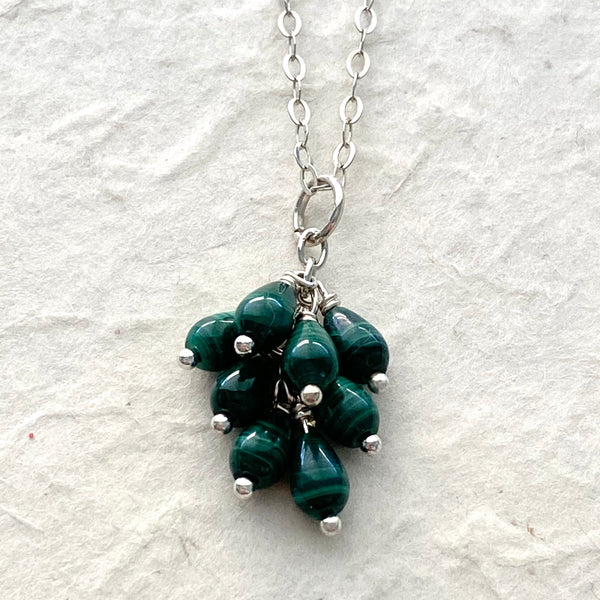 Malachite Cluster Drop Pendant Necklace on Sterling Silver Chain