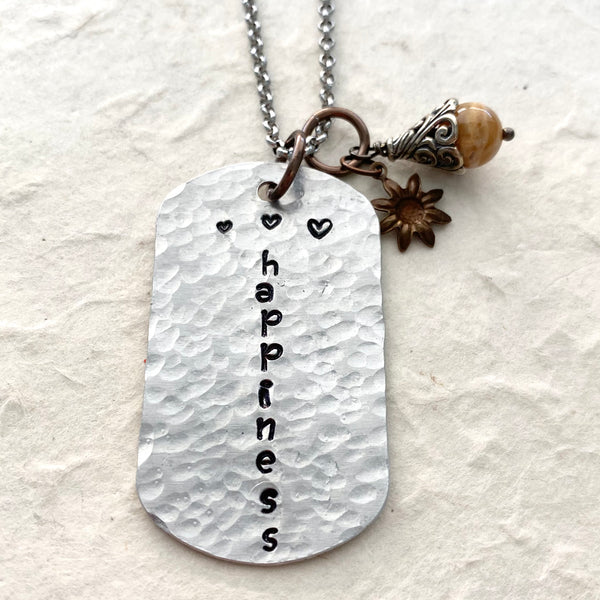 Happiness Hand Stamped Necklace on Stainless Chain