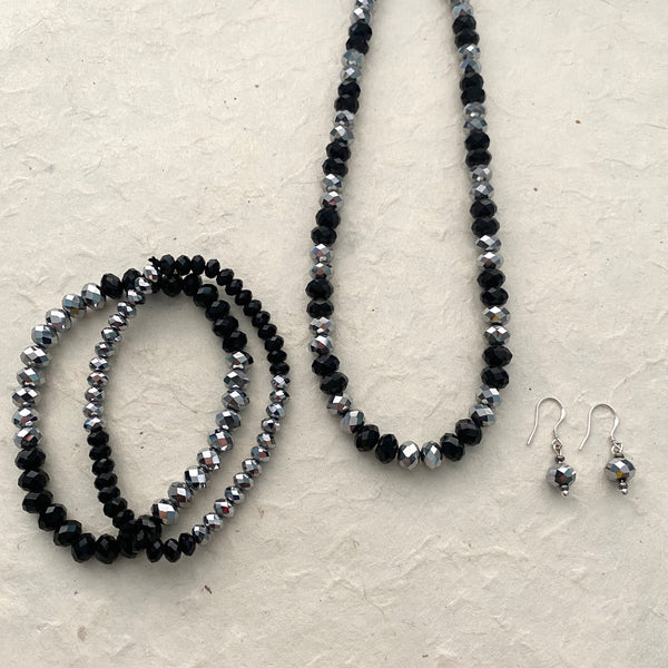 Black and Silver Crystal Necklace, Stretch Bracelet and Earring Set