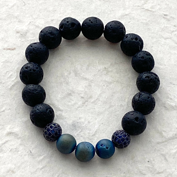 Druzy and Lava Beads with CZ accent Beads Stretch Bracelet
