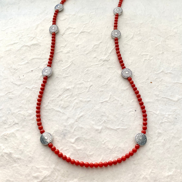 Dyed Coral and Silver Necklace