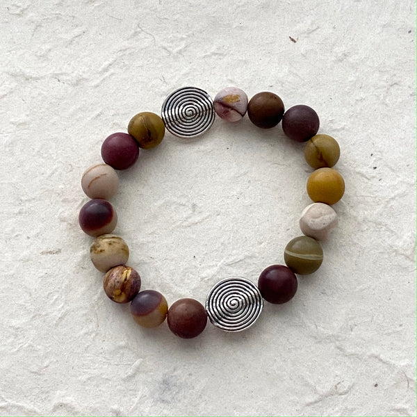 Mookaite Bead Stretch Bracelet with Silver Accents