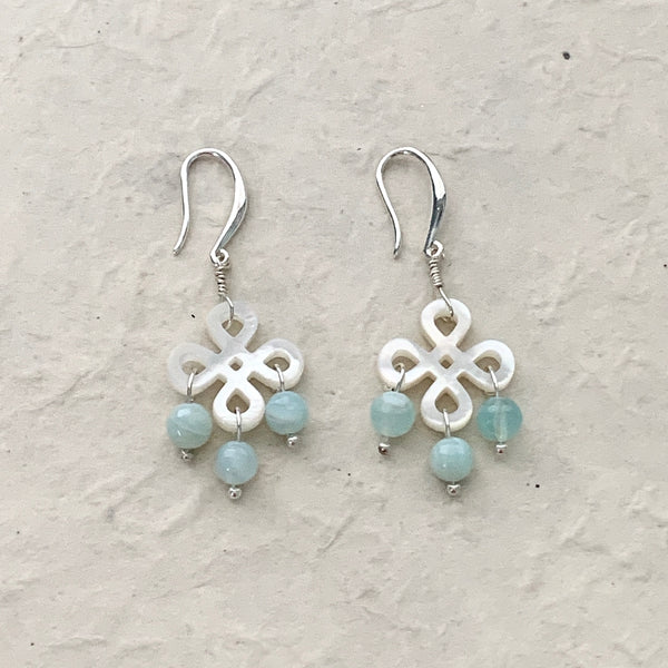 Mother of Pearl and Green Opal Earrings