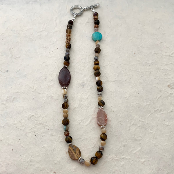 Multi Stone Beaded Necklace