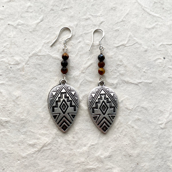 Navajo Shield Design Earrings with added Tiger Eye Beads