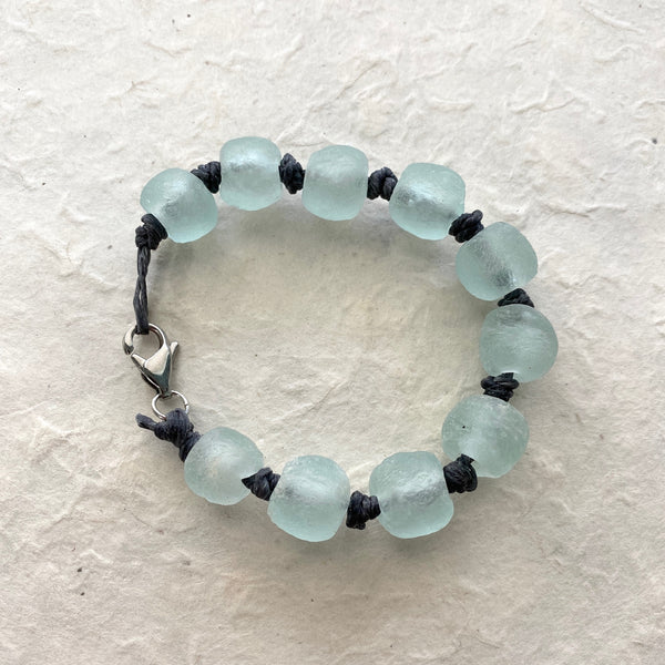 Recycled Glass Bead Bracelet on Linen Cord