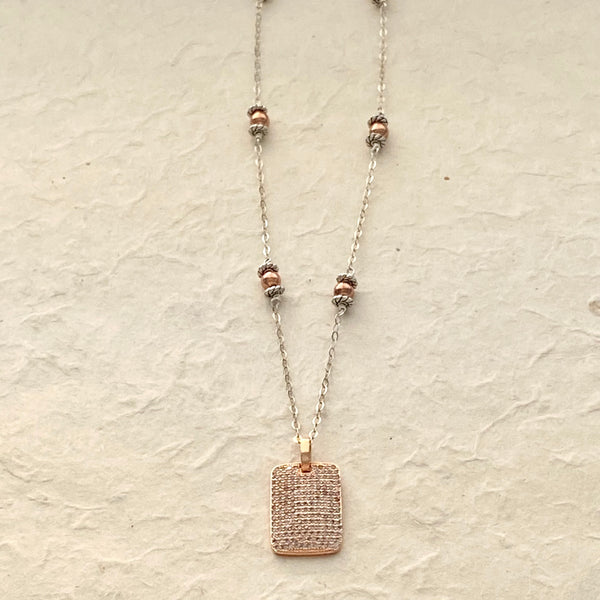 Rose Colored CZ Dog Tag on Silver Chain with Rose Colored Metal Beads
