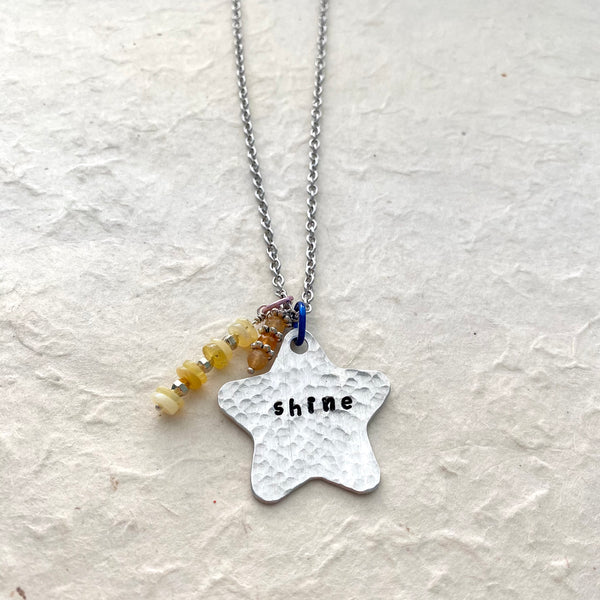 Shine Hand Stamped Necklace on Stainless Chain
