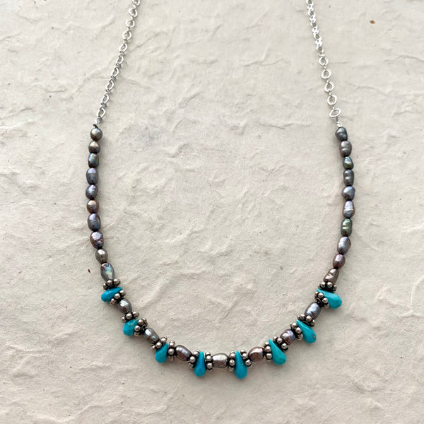 Turquoise Droplets with Peacock Rice Pearls