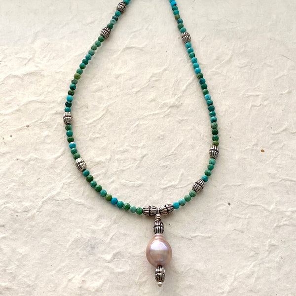 Turquoise and Freshwater Pearl Necklace with Extender Chain