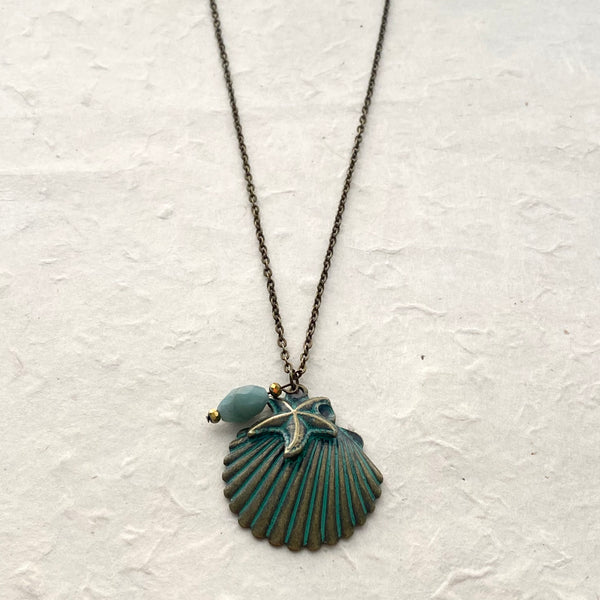 Verdigris Shell Charm with Amazonite Charm Necklace