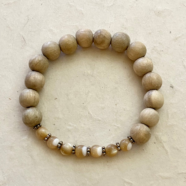 Wood and Mother of Pearl Stretch Bracelet