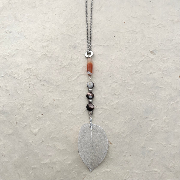 Y Necklace with Silver Leaf Drop with Agate and Mother of Pearl Beads