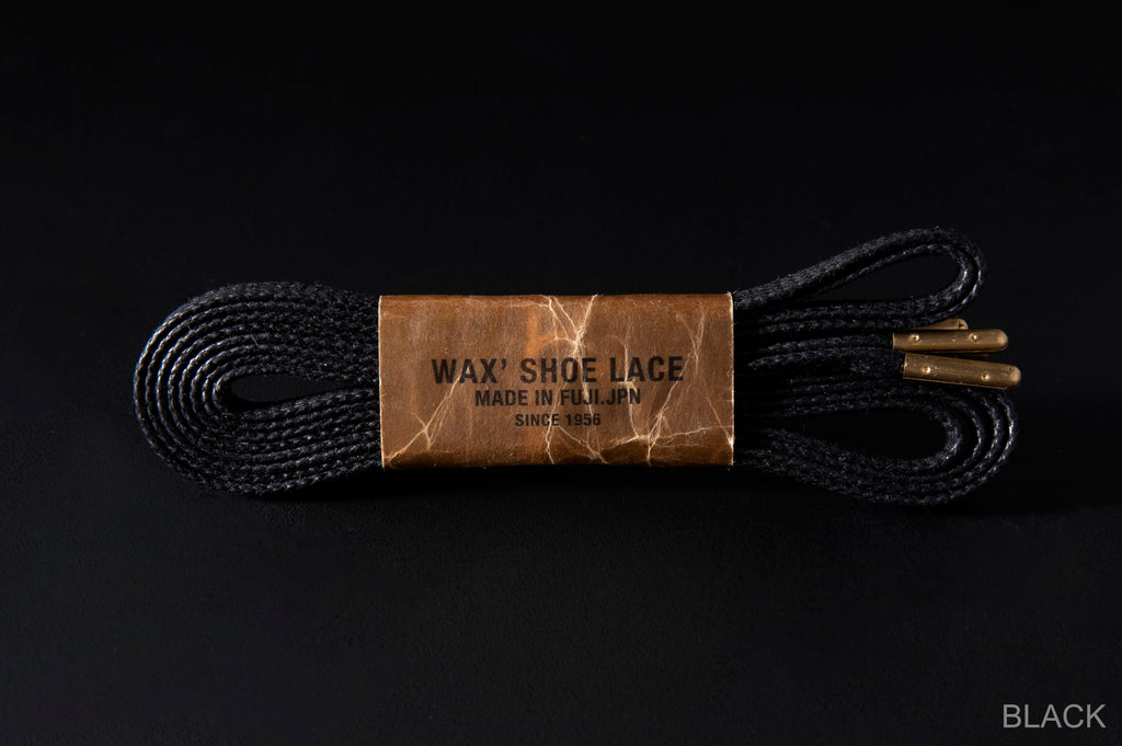 WAX' SHOE LACE -FLAT- BLACK