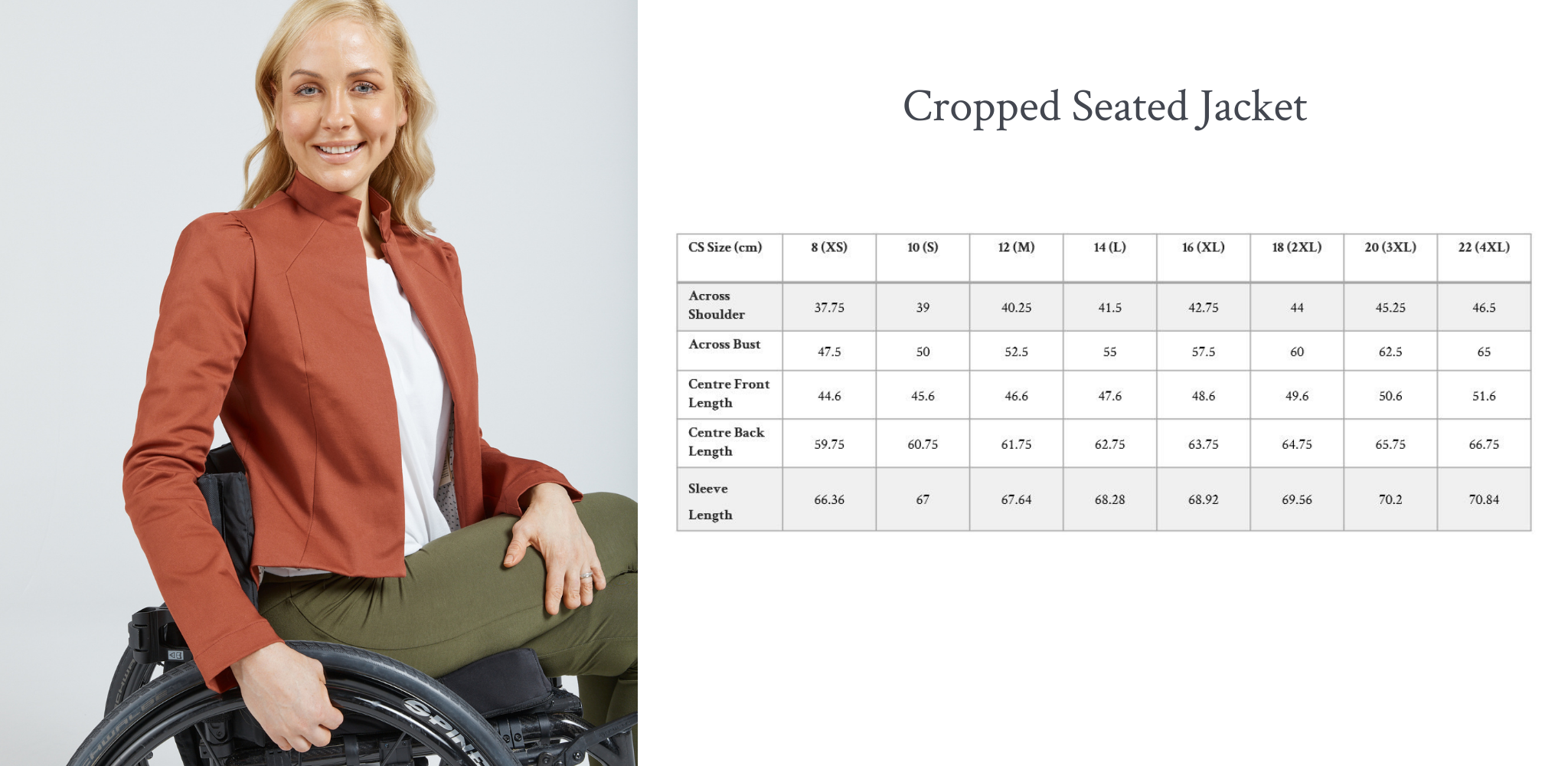 Christina Stephens adaptive clothing, cropped seated jacket in brick red