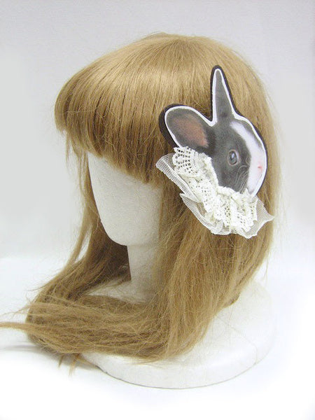 Black Rabbit with Lace Badge/Hair accessory