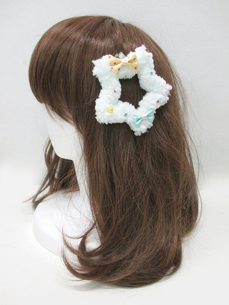 Kawaii Fluffy Star Badge/Hair Accessory - Mint