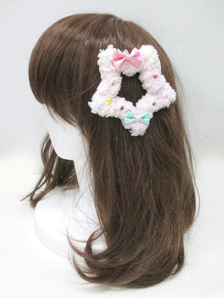 Kawaii Fluffy Star Badge/Hair Accessory - Rainbow