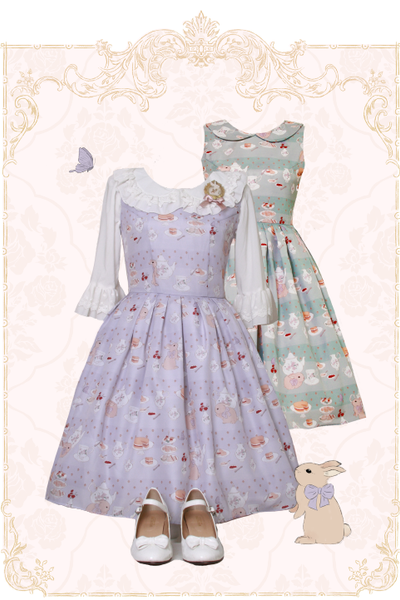 Afternoon Tea with Bunny - Peter Pan Collar Jumperskirt
