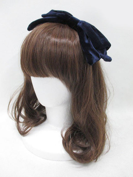 Navy Velvet Bow Headband