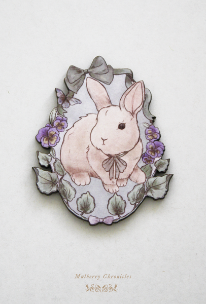 Mulberry Chronicles cute otome kei woodland mori novelty brooch illustrated and handmade in melbourne