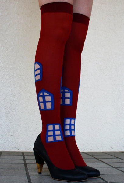Eine Lilie Windows over the knee socks