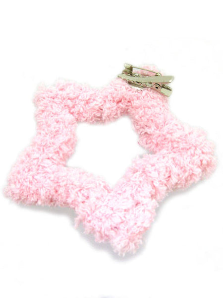 Kawaii Fluffy Star Badge/Hair Accessory - Pink