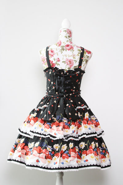 Metamorphose Sweet Cherry Ribbon Pinafore Set