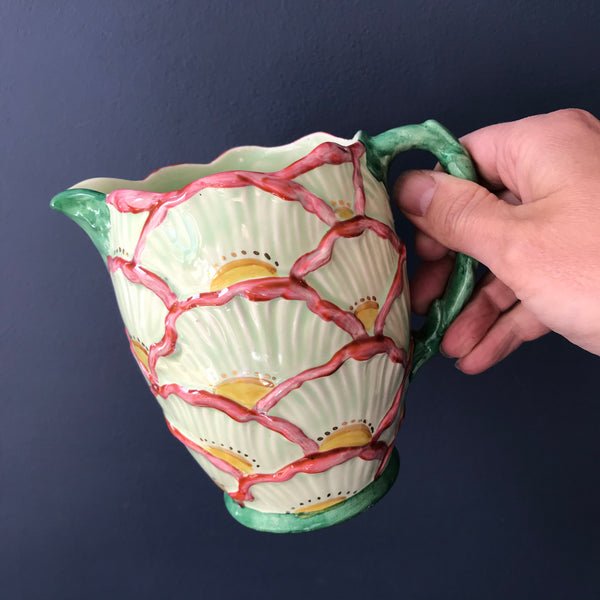 Beautiful ceramic pink, green and white Faclconware jug