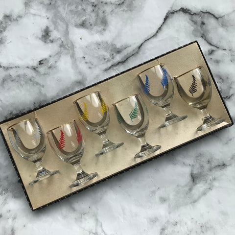 Vintage sherry, port or liqueur glasses with a fern decoration in their original box