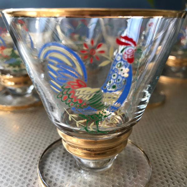 Vintage cockerel aperitif glasses with gold highlights