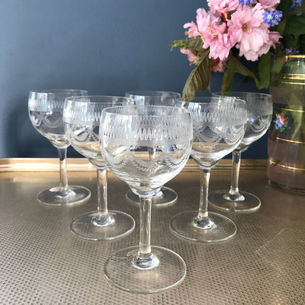 Set of six antique port glasses etched with a zigzag and swag pattern
