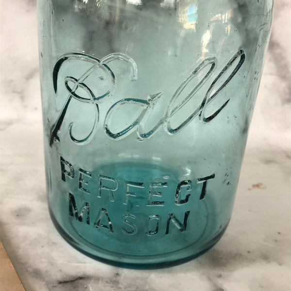 Turquoise glass 1920s Ball Perfect Mason kitchen storage jar