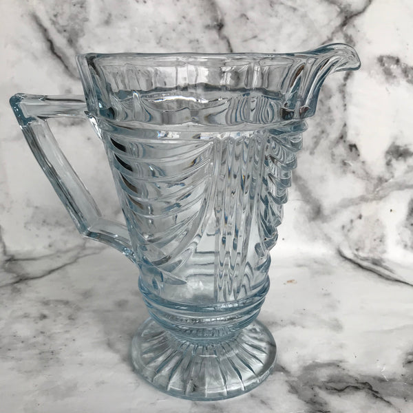 1930s Sowerby Art Deco blue glass water jug