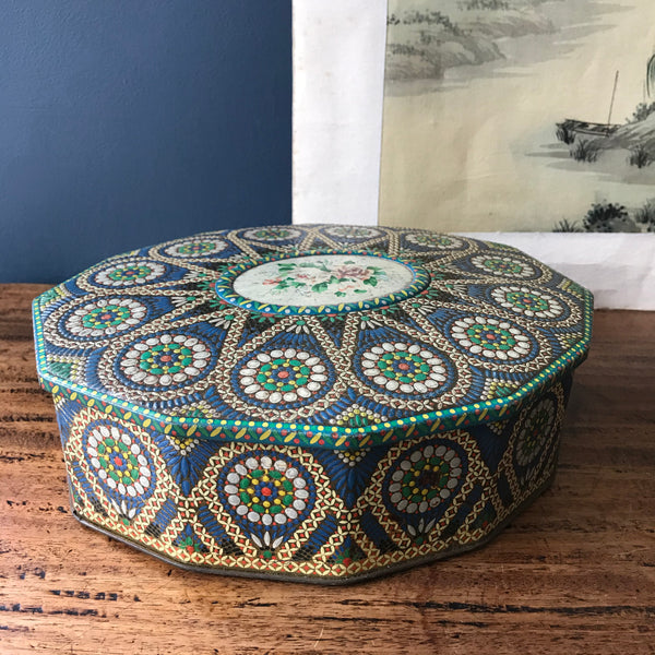 vintage Carr & Co multi sided biscuit tine with mosaic style design