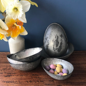 Collection of six vintage metal Easter Egg moulds